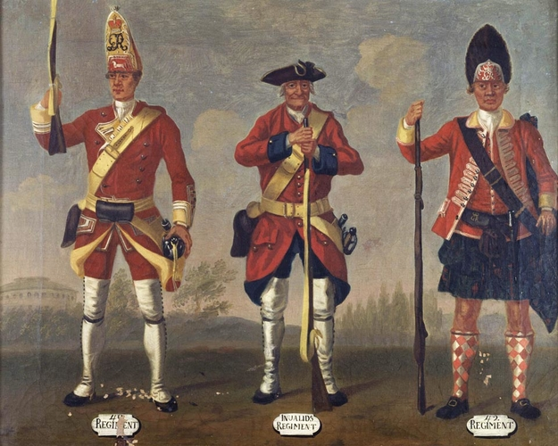 Grenadiers, 40th Regiment of Foot, and Privates, 41st Invalids Regiment and 42nd Highland Regiment, 1751