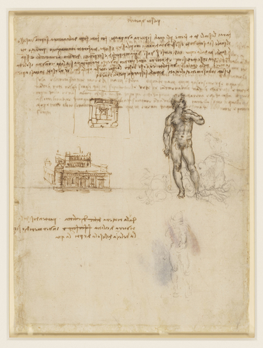 Recto: A palazzo, and a fountain of Neptune. Verso: Notes on Cyprus and the legend of the Sirens
