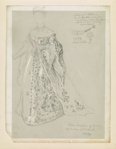 Full-length study of dress worn by the Duchess of Edinburgh, with detail of agraffe and star