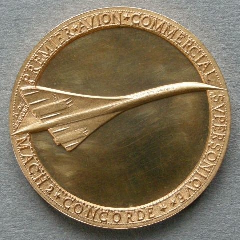 France. Medal commemorating the intention to build the 'Concorde' for commercial supersonic flying