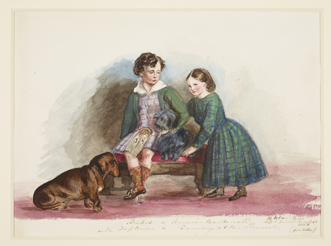 Master: SKETCHES FROM NATURE V. R. 1847 TO 1852 Item: Archie & Annie Macdonald with Daphne & Fancy at the Kennel