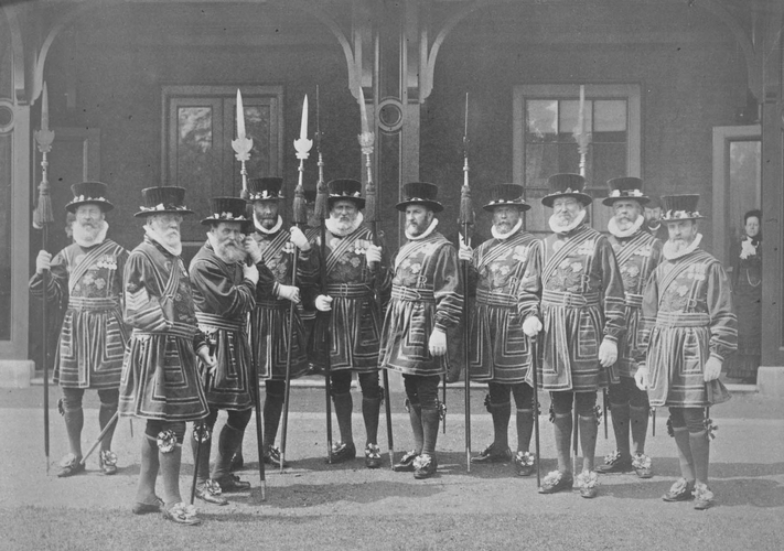The Warders [sic] of the Tower of London in full dress. [Photographic Portraits. Volume 67. ]