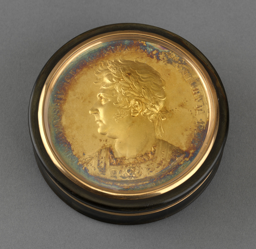 Box with George IV (1762-1830) coronation medal