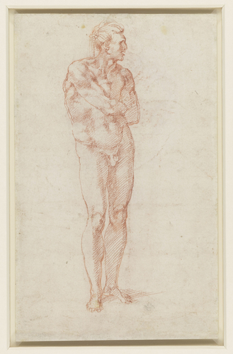 Recto: A male nude with proportions indicated. Verso: A male nude
