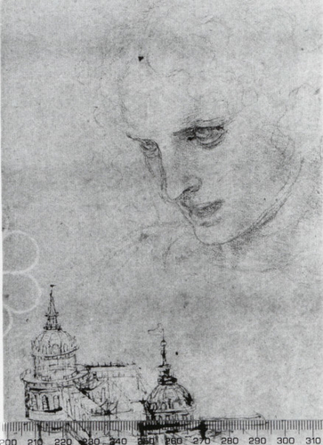 The head of St James, and architectural sketches