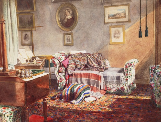 The Sofa in Her Royal Highness's Bedroom, in which HRH breathed her last, 15th-16th March 1861. Frogmore House