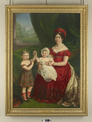 Augusta, Duchess of Cambridge (1797-1889) with Prince George (1819-1904) and Princess Augusta of Cambridge (1822-1916)