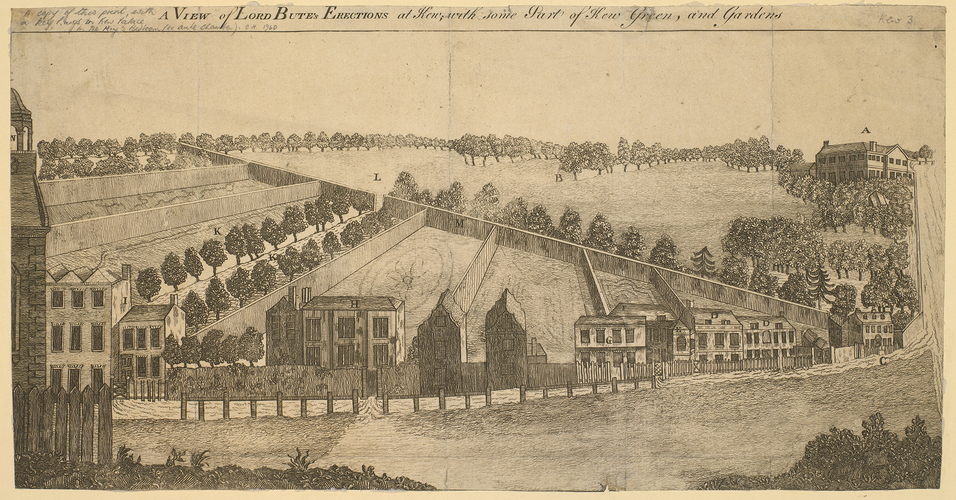 A view of Lord Bute's Erection at Kew, with some part of Kew Green and gardens