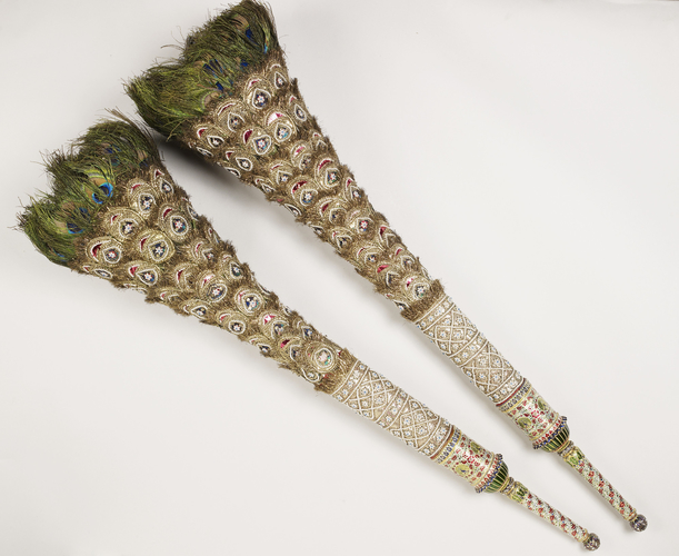 Master: Pair of peacock feather fans
