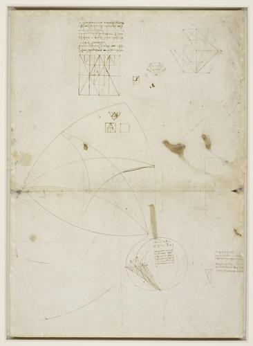 Recto: Studies of geometry, clouds, plants, engineering, etc. Verso: Studies of geometry