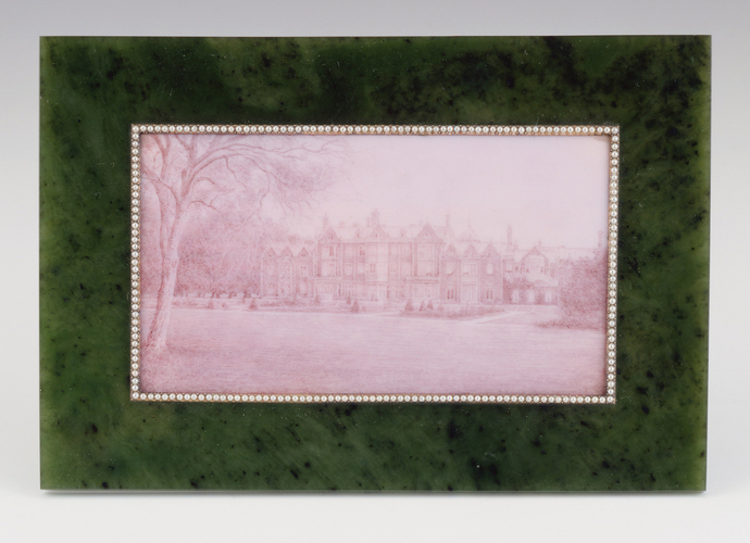 Frame with an enamelled view of Sandringham House