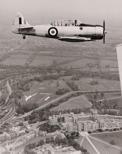 The Duke of Edinburgh flying solo over Windsor Castle