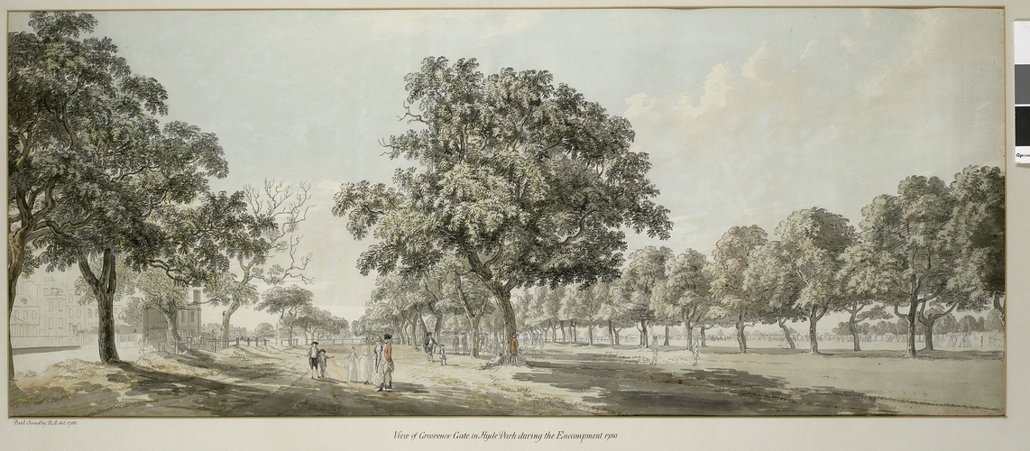 View of Grosvenor Gate in Hyde Park during the Encampment 1780