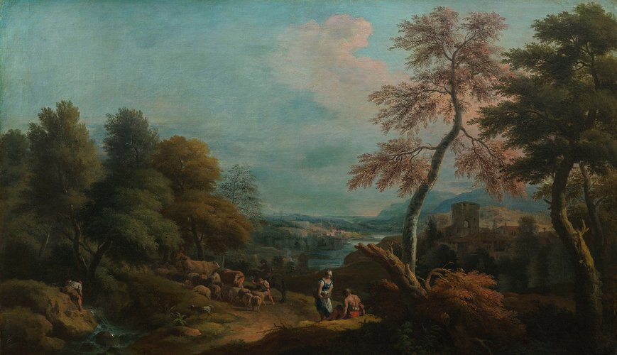 Landscape with Cattle and a Woman Speaking to a Seated Man