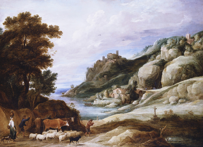 A Shepherd with his Flock in a Mountainous Landscape