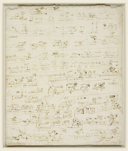 Recto: A sheet of pictographs drawn over astronomical studies. Verso: A sheet of pictographs, drawn over an architectural plan