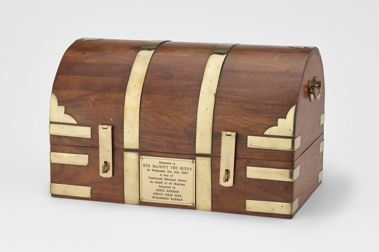 Wooden casket, originally containing Pakistani sweets