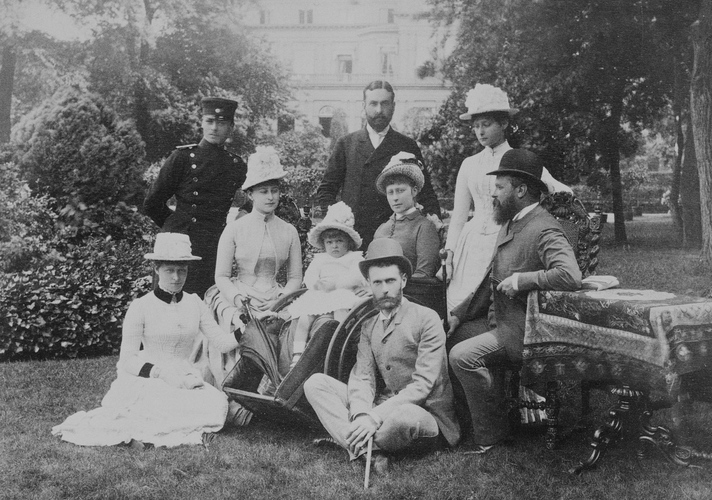 Group photograph showing Hereditary Grand Duke of Hesse; Prince Louis of Battenburg; Grand Duchess Elizabeth of Russia; Princess Louis of Battenburg et al, Dormstadt[?] 1887. [Album: Photographic Port