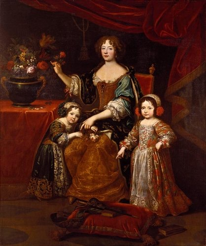 Elizabeth Charlotte, Princess Palatine, Duchess of Orleans, with her son Philippe, later Regent of France, and daughter, Elizabeth, later Duchess of Lorraine