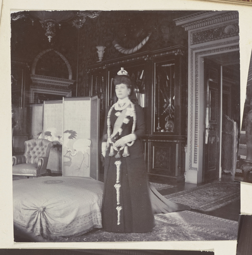Master: Photographs of Queen Alexandra, and Princess Maud, February 1901 Item: Queen Alexandra, dressed for the State Opening of Parliament, February 1901