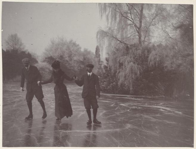 Photograph of the Princess of Wales skating at Sandringham, 5 January 1908