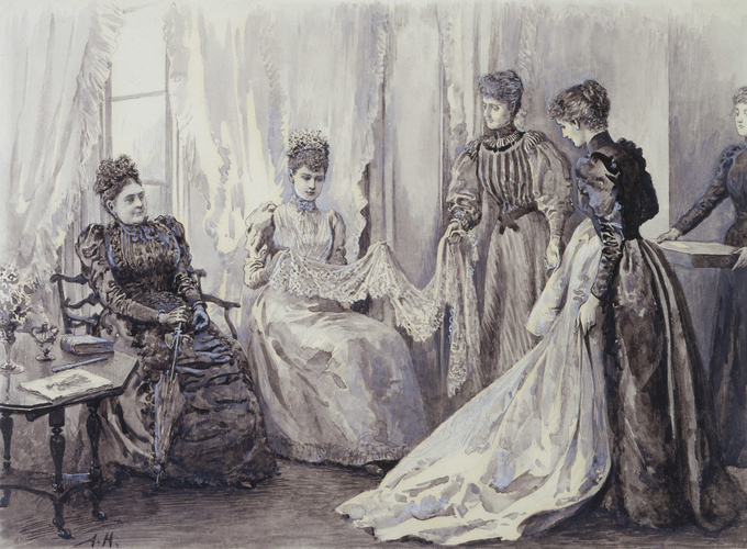 Princess Victoria Mary of Teck, with her mother, choosing her wedding trousseau, May 1893