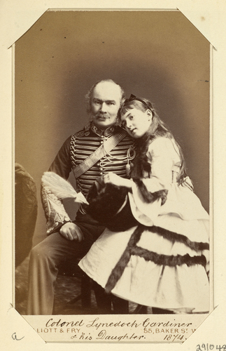 Colonel Lynedoch Gardiner and his daughter. 1874. [Royal Household Portraits. Volume 55. ]