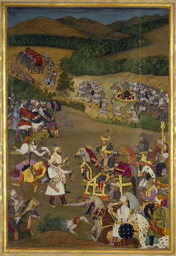 Master: The Padshahnama Item: Khan Dawran receiving the heads of Jujhar Singh and his son Bikramajit (January 1636)