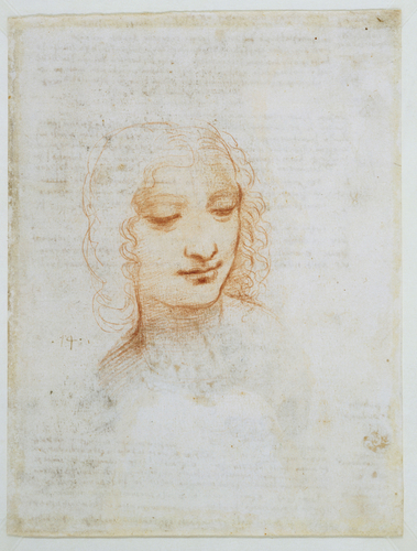 Recto: Studies of flowing water, with notes. Verso: The head of a woman