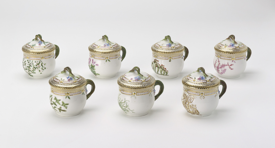 Two Flora Danica Custard Cups and Covers