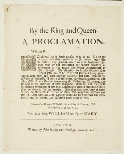 Master: Volume of broadsides dated from 1625 to 1702. Item: A Proclamation