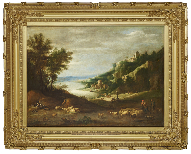 Shepherds with their Flocks in a Mountainous Landscape
