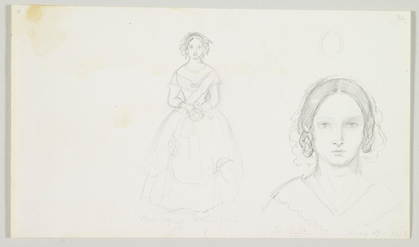 Master: Queen Victoria's sketch book, 1843 to 1845 Item: Self-Portrait of Queen Victoria