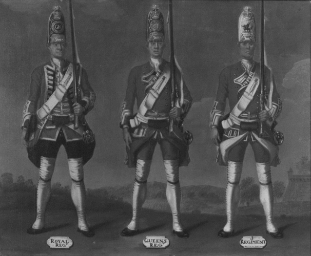 Grenadiers, 1st Royal, 2nd Queen's and 3rd Regiments of Foot, 1751