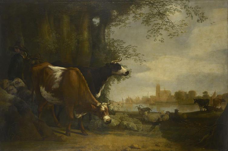 Milking Time in a Riverside Pasture, near Dordrecht