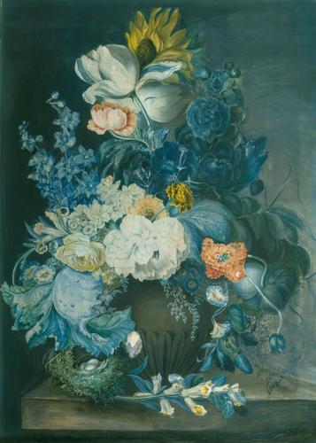 Flower piece with bird's nest