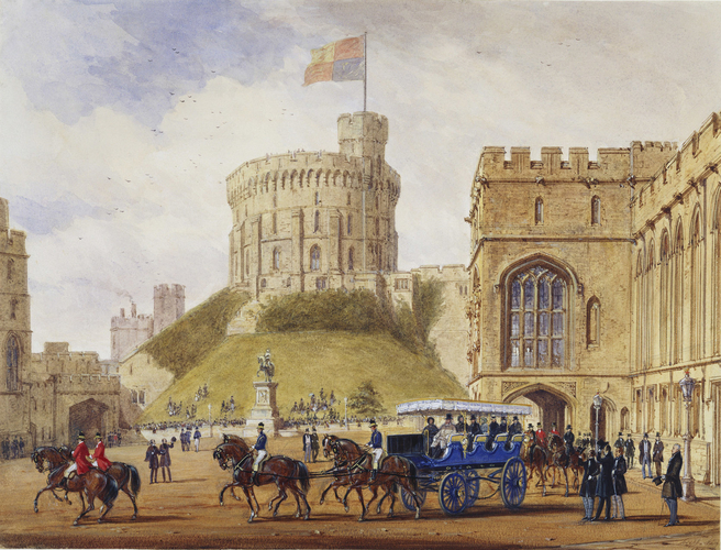 Queen Victoria driving out with Louis-Philippe from the Quadrangle, Windsor Castle