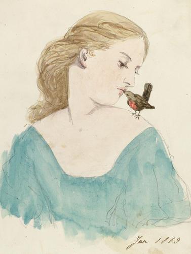 Master: Madame de Coninck's Albums: Princess Louise Item: A female figure kissing a robin