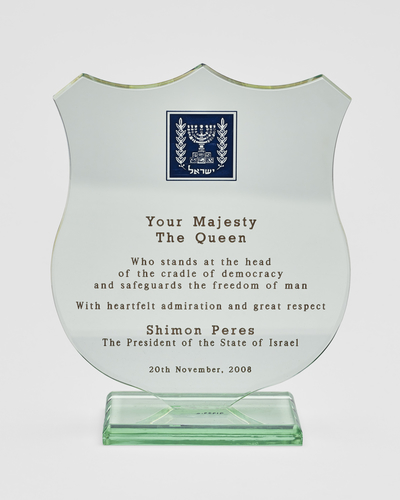 Perspex plaque with dedication to The Queen