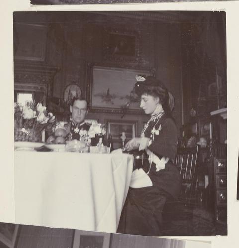 Master: Photographs of Queen Alexandra, and Princess Maud, February 1901 Item: Prince Carl of Denmark and Princess Maud dining
