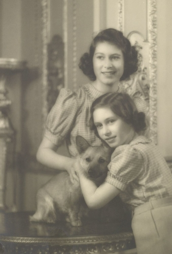 Princesses Elizabeth and Margaret with Dookie