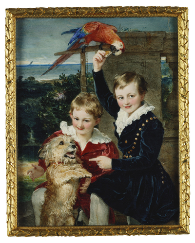 Prince Ernest (1830-1904) and Prince Edward (1833-1914) of Leiningen, with Islay and a macaw