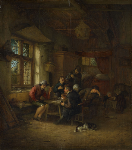 Interior of a Tavern with a Five Peasants and a Woman