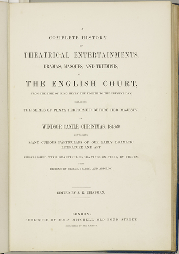 History of theatrical entertainments at the English court