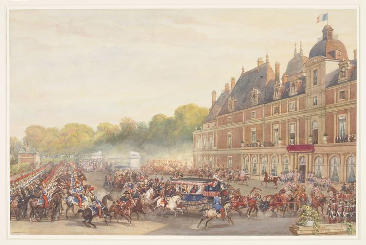The arrival of Queen Victoria at the Chateau d'Eu