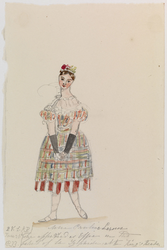 Master: Princess (Queen) Victoria's Sketchbook, 1832-1834 Item: Mlle Pauline Leroux as she appeared as Effie in the ballet of La Sylphide at the King's Theatre