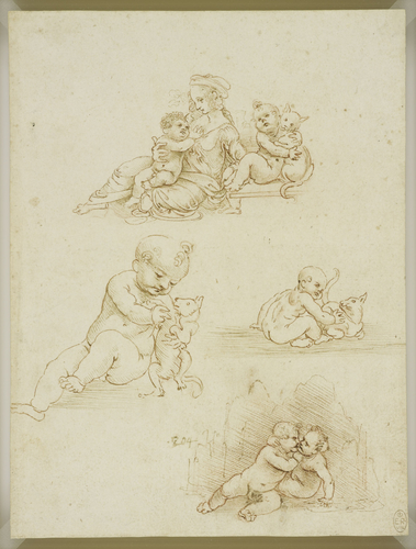 The Virgin and Child with a child and a cat, two studies of a child and a cat, and the Christ child and infant Baptist embracing