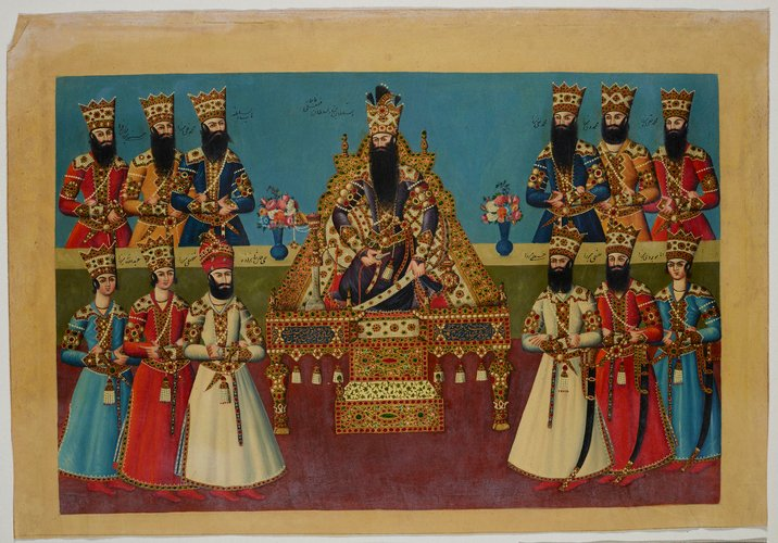 Master: The Court of Fath 'Ali Shah at the Nowrooz Salaam Ceremony. Item: The Shah seated in state upon his throne, surrounded by the elder princes