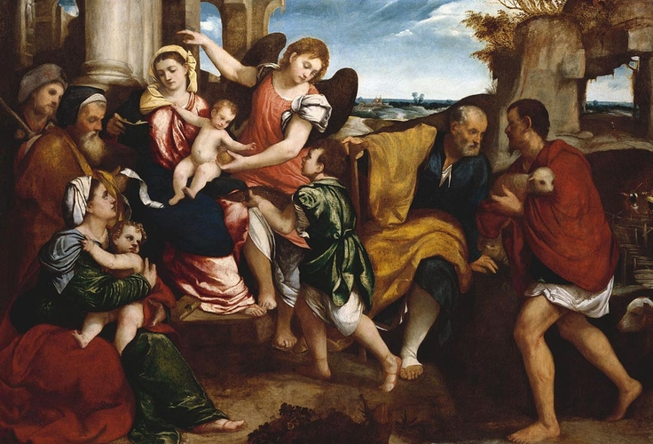 The Two Holy Families with Saint Roch (or James), Tobias and Raphael, and a Shepherd