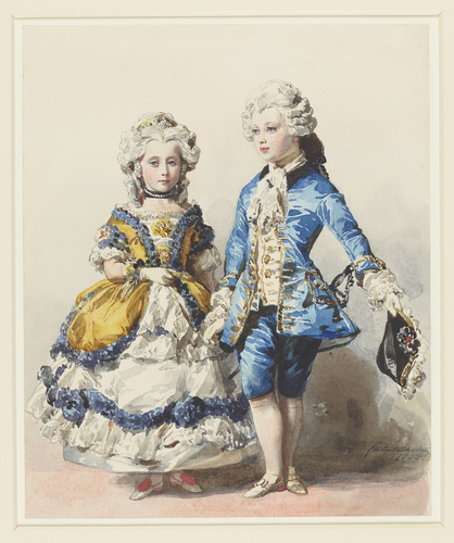 Victoria, Princess Royal, and Princess Alice in eighteenth-century costume